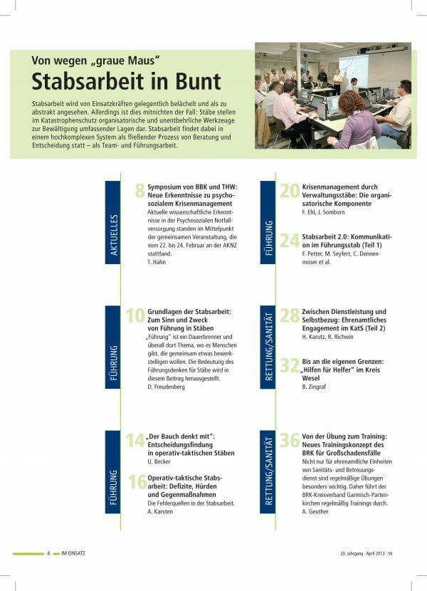 IM EINSATZ 02/2013 - Stabsarbeit – viele Facetten und Funktionen