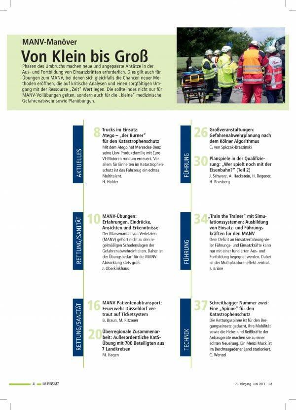 IM EINSATZ 03/2013 - Umbrüche und Chancen durch MANV-Übungen